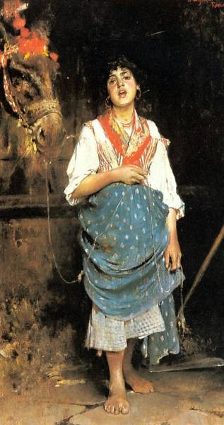 A Peasant Girl With A Horse